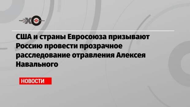 США и страны Евросоюза призывают Россию провести прозрачное расследование отравления Алексея Навального