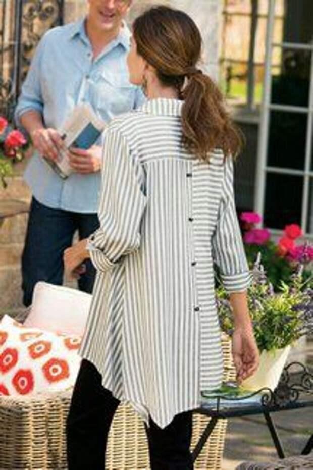 Блуза в полоску вразнобой