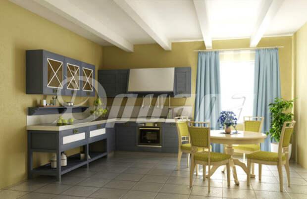 Серая мебель на оливковой кухне