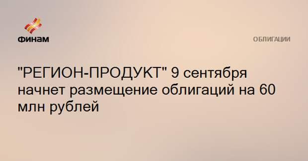 """""""РЕГИОН-ПРОДУКТ"""" 9 сентября начнет размещение облигаций на 60 млн рублей"""