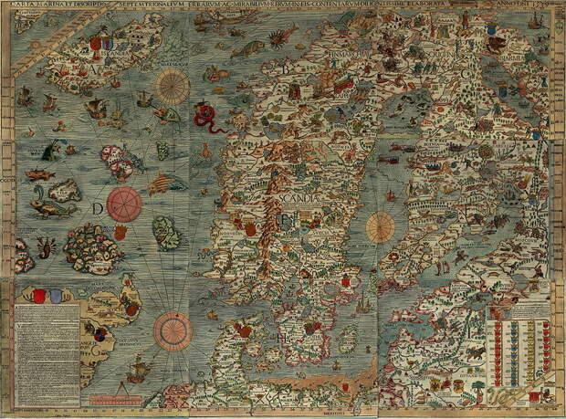 Карта Балтики. Олаус Магнус, 1539 год. upload.wikimedia.org - Нарвское плавание: «гнев на всю их землю…» | Warspot.ru