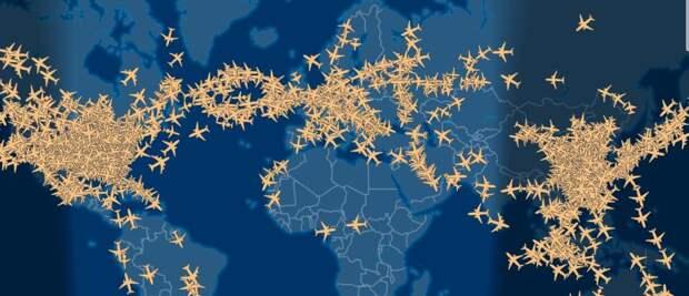 В мире бушует коронавирус. Посмотрите сколько сейчас самолётов в небе
