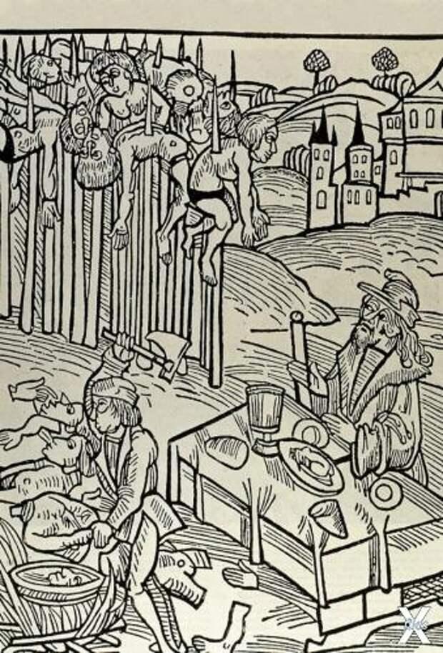 Влад Дракула обедает в тени от кольев...