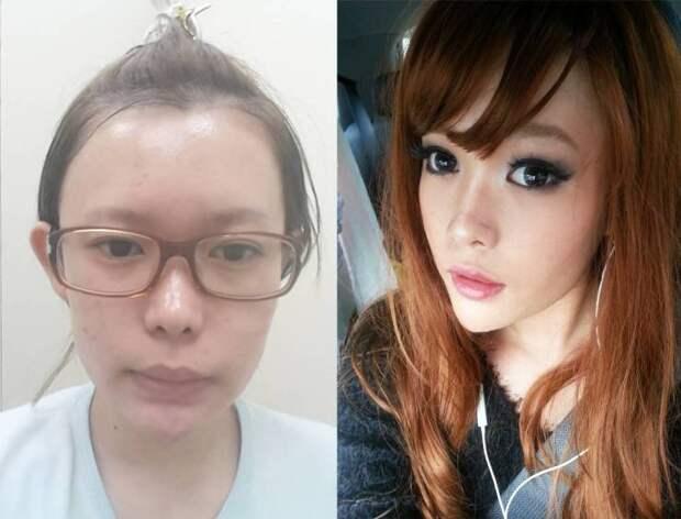 Фото до и после макияжа