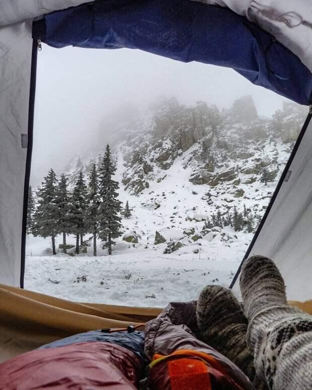 Таганай (Челябинская область). альпинизм, горы, зима, палатка, пейзаж, рассвет, снег, туризм
