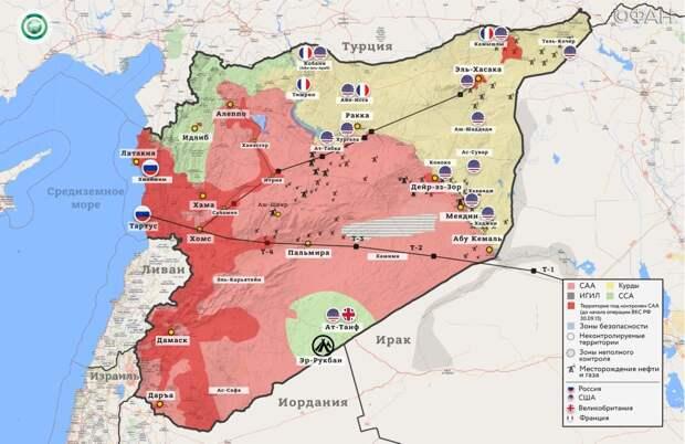 Карта боевых действий в Сирии