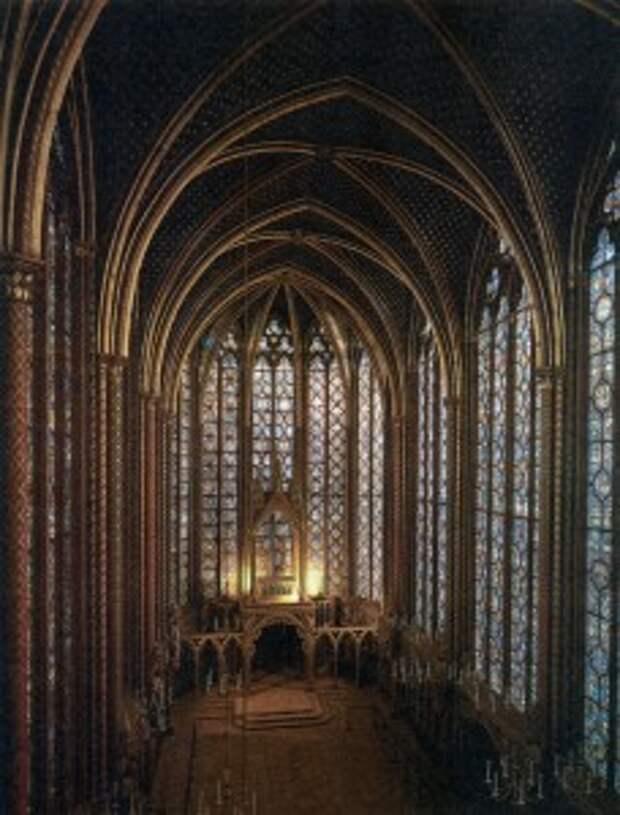 Витражи верхней церкви капеллы Сент-Шапелъ в Париже