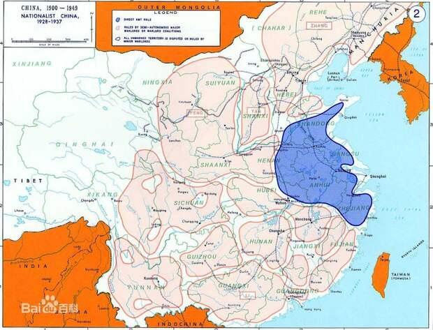 Китай, разорванный гражданской войной (синим цветом показаны области, контролируемые Гоминьданом) tc.sinaimg.cn - Шанхай-1932: проба сил перед большой войной   Военно-исторический портал Warspot.ru