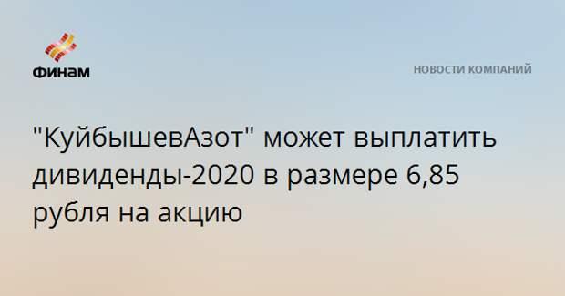 """""""КуйбышевАзот"""" может выплатить дивиденды-2020 в размере 6,85 рубля на акцию"""