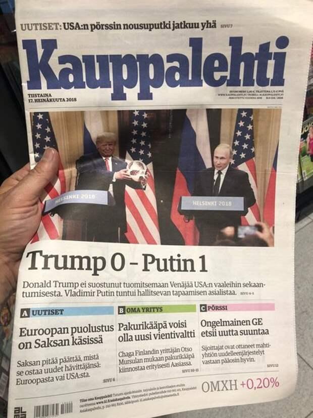 Обложка финской газеты после встречи в Хельсинки