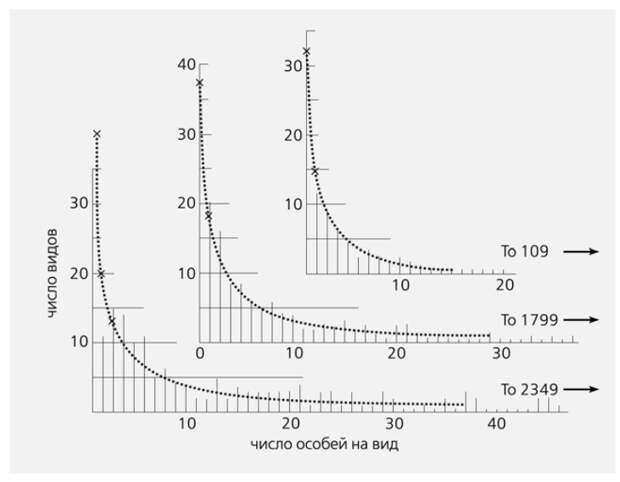 Рис.2. Распределение числа видов по классам обилия для выборок ночных бабочек, пойманных на Ротамстедской станции. Внизу — данные за четыре года; в середине — за один год в среднем; вверху — за 1/8 года в среднем. Пунктирная линия — аппроксимация логарифмическими рядами. Больше всего малочисленных видов. Числа со стрелками указывают на число особей самого многочисленного вида в выборке. Классы обилия не логарифмические [13].