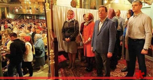 В Сызрани чиновники на службе в Пасху отгородились от «простолюдинов» шторкой