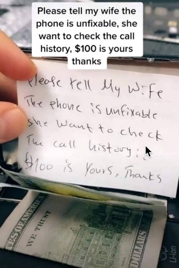Неожиданно: мастер нашел внутри iPhone 100 долларов изаписку снеобычной просьбой отклиента
