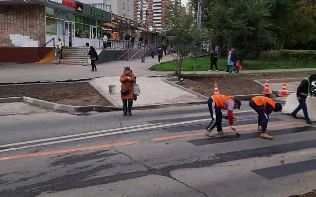 На Живописной улице обновили разметку