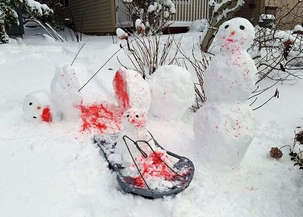Делайте правильных снеговиков подборка, прикол, приколы, чёрный юмор, шутки за 300, шутники, юмор