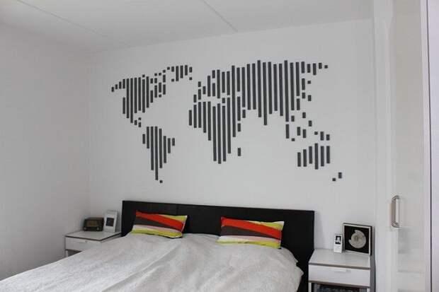 Необычные карты мира как декор стен