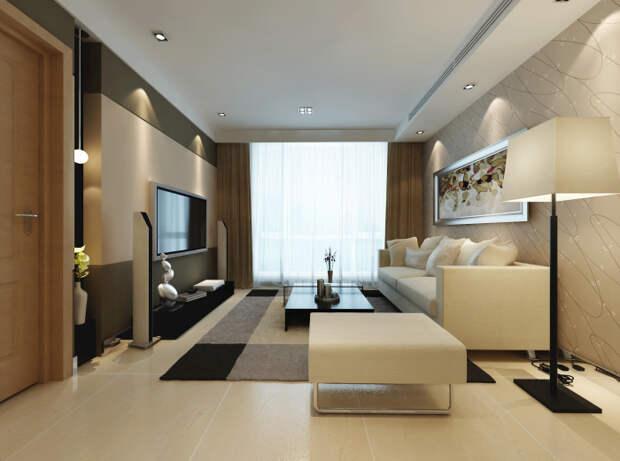 Традиционный вариант оформления гостиной комнаты, который позволит наполнить комнату атмосферой покоя и релаксации.