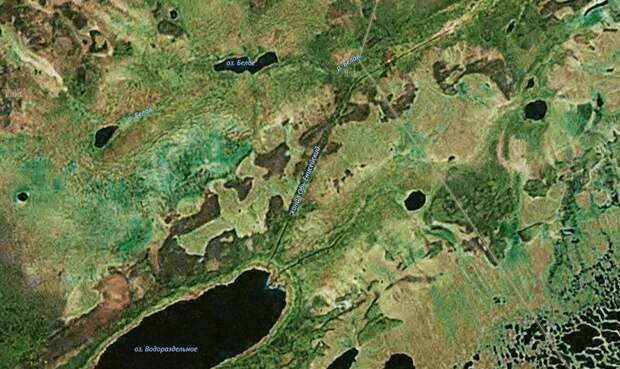 До сих пор виден на космоснимках: заброшенный канал между Енисеем и Обью
