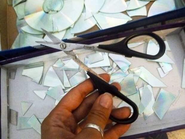 Процесс выполнения работы декорации, кофмпакт диск, кухня, своими руками