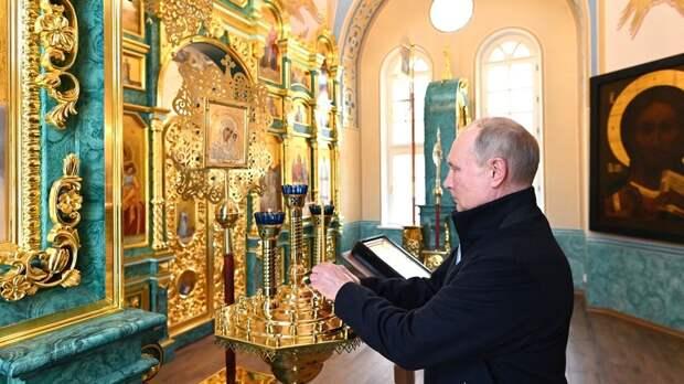 Путин посетил Коневский монастырь в Ленинградской области
