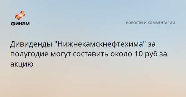 """Дивиденды """"Нижнекамскнефтехима"""" за полугодие могут составить около 10 рублей на акцию"""