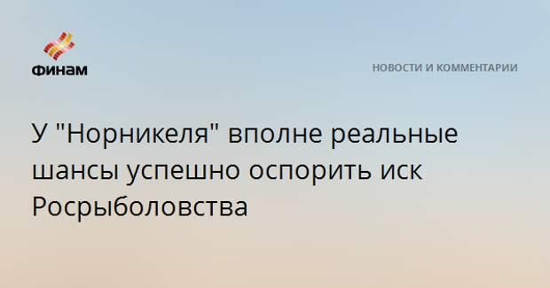 """У """"Норникеля"""" вполне реальные шансы успешно оспорить иск Росрыболовства"""
