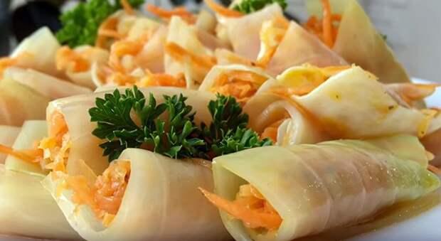 Голубцы с морковкой по-корейски в квашеной капусте, вкуснятина!
