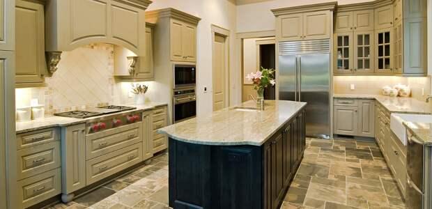 столешница из мрамора для кухни бледно-оливкового цвета