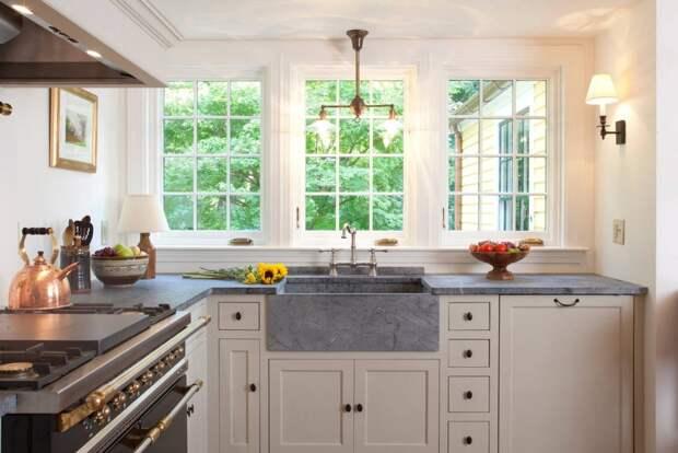 столешница из искусственного камня серого цвета для маленькой кухни