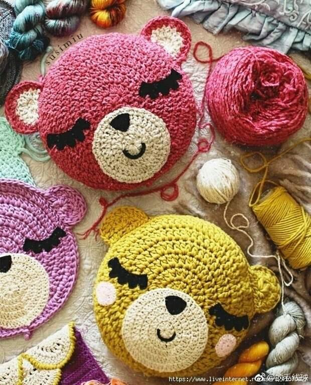Вязание крючком - подушки мишки (схема)