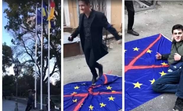 ВОдессе радикалы растоптали флаг Евросоюза, сняв это навидео