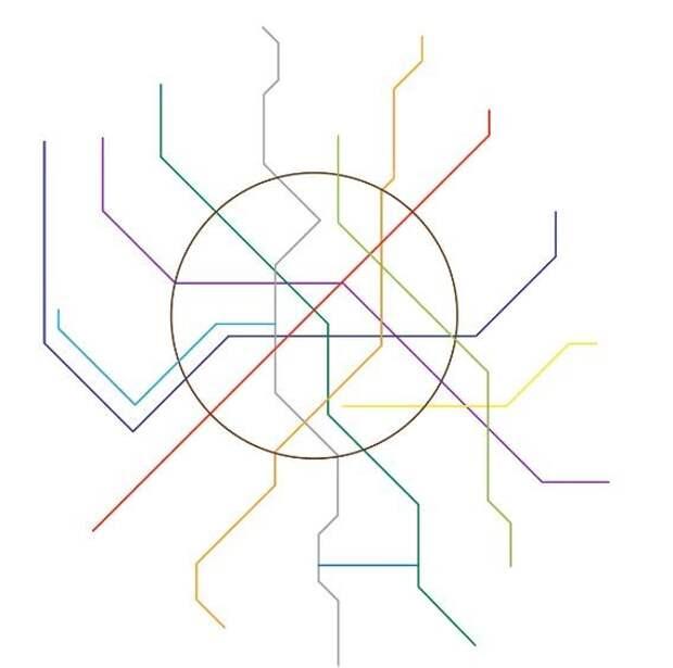В реальности линии не могут быть прямыми, а некоторые станции расположены гораздо ближе друг к другу гифка, метро, схема