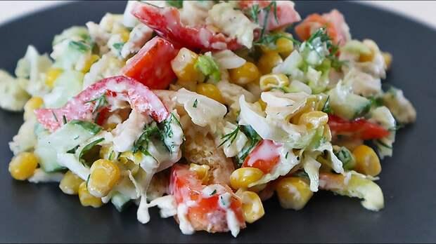 Куриная грудка овощи Потрясающе вкусный салат который никогда не надоест (рецепт)