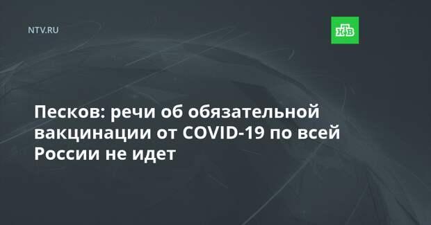 Песков: речи об обязательной вакцинации от COVID-19 по всей России не идет
