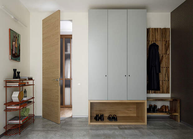Спокойный и уютный современный интерьер в квартире с неправильной планировкой в Москве