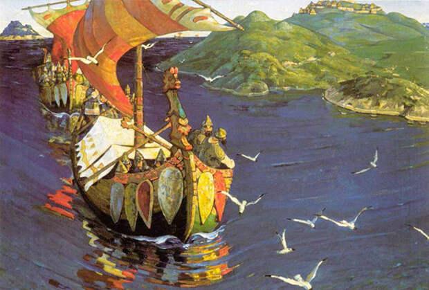 Картина Николая Рериха. «Заморские гости»