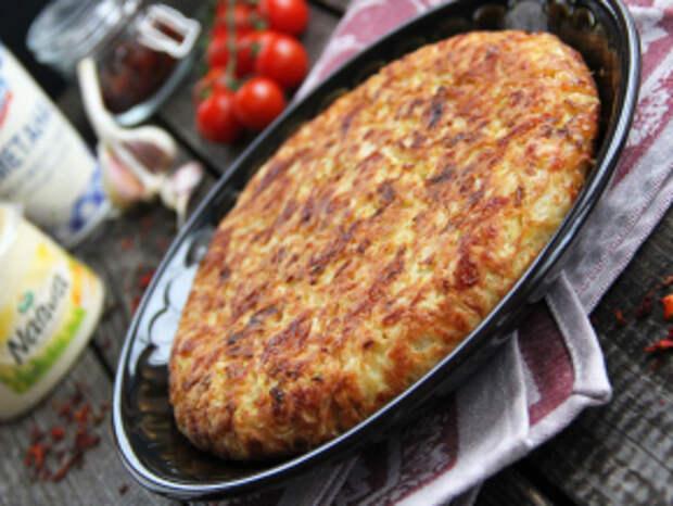 Капустная запеканка с сыром на сковороде
