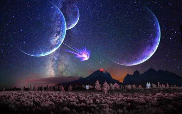 Вот таким будет звездное небо на Земле, когда приблизится Андромеда