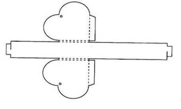 Схема для подарочной коробочки в виде сердечка