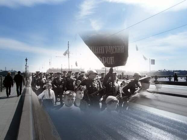 Ленинград 1945-2009 Троицкий- Кировский мост. Встреча победителей блокада, ленинград, победа