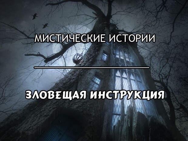 Зловещая инструкция - мистическая история