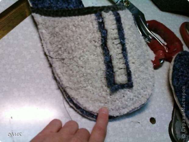 Мастер-класс Шитьё Домашние тапочки для себя и для гостей Кожа Мех Ткань фото 11