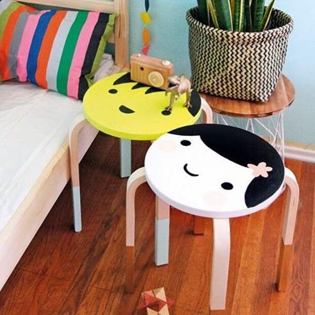 переделка табурета мебели в детской
