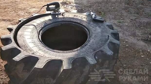 Как сделать емкость для воды из покрышки от трактора