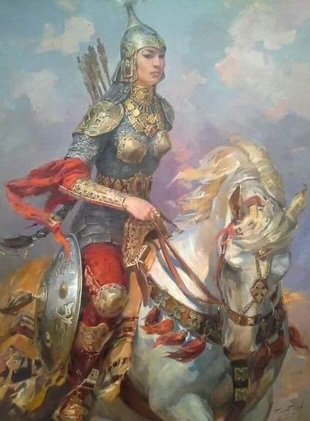 Картины Булата Гильванова. Легенда о булгарской воительнице Алтынчеч.