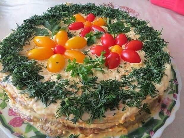 Салат Помидорная полянка. Очень вкусный и сытный салат 2