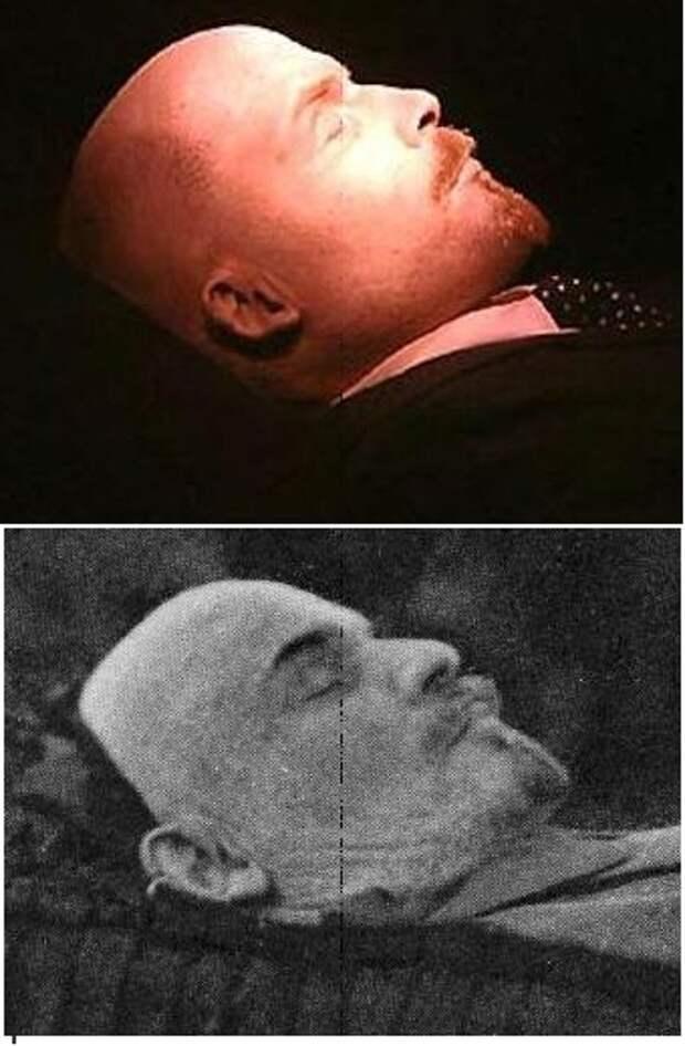 Фото 13. Сравнение фотоснимков трупа Ленина 1924 года и в настоящее время.