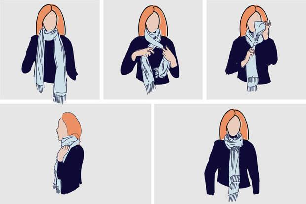 завязать платок на пальто фото
