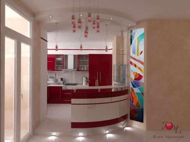 Авторский дизайн кухни с барной стойкой от Юлии Черняковой