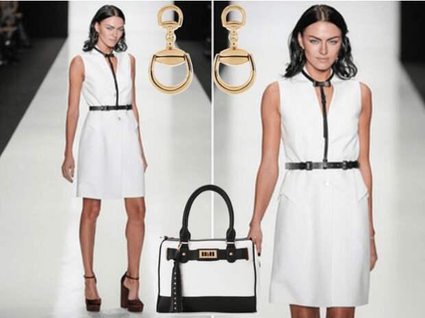 Чёрная портупея, белое платье, туфли на толстых каблуках, сумочка, серьги